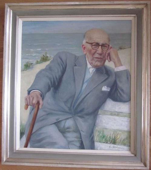 Schilgen, Baron Hermann vonPorträt eines älteren Mannes am Meer. Öl auf Leinwand. Unten rechts signiert. Gerahmt. Größe Leinwand 70 x 60 cm