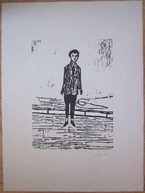 Balkenhol, StephanFrau mit weißer Jacke Holzschnitt in Schwarz und Weiß auf grau getöntem Somerset Büttenkarton. Signiert. Blattgröße  ca. 76 x 56 cm.
